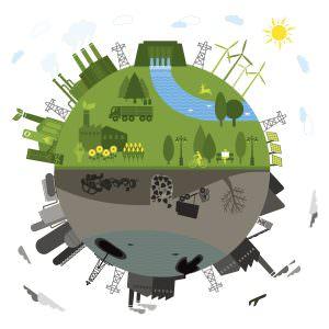 Megújuló energiaforrások és a fosszilis energiaforrások illusztrációja.