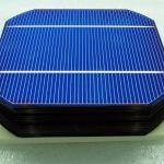 Monokristályos napelem egy darab napelemes cellája.
