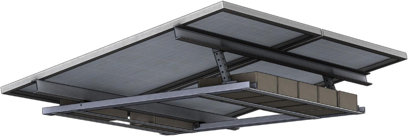 Napelemes rendszer telepítése lapos tetőre, súlyozással, ballasztozással.